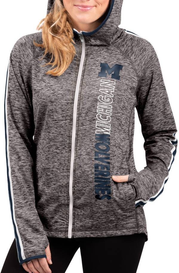 G-III For Her Women's Michigan Wolverines Grey Free Agent Full-Zip Hoodie product image