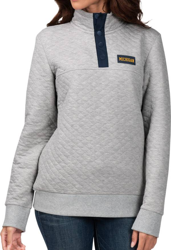 G-III For Her Women's Michigan Wolverines Grey First Hit Quarter-Button Pullover Top product image