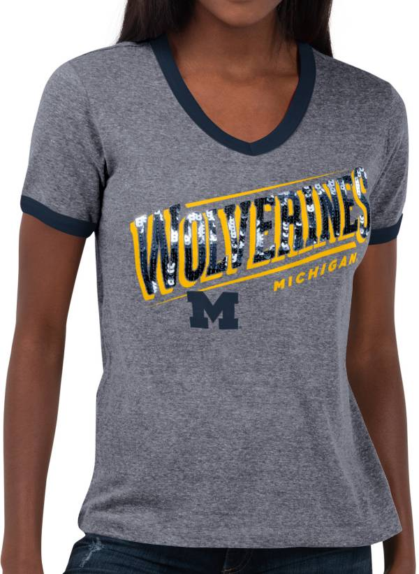 Touch by Alyssa Milano Women's Michigan Wolverines Grey Sequin Free Throw T-Shirt product image