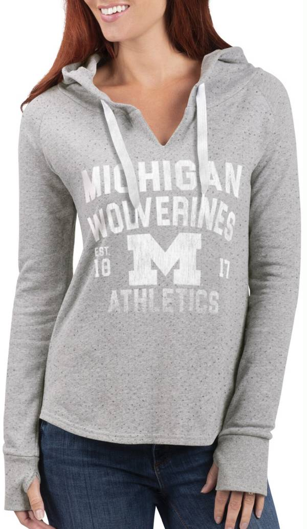 G-III For Her Women's Michigan Wolverines Grey Touchdown Pullover Hoodie product image