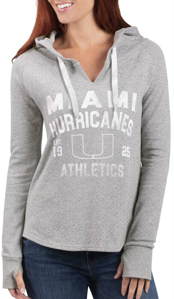 G-III For Her Women's Miami Hurricanes Grey Touchdown Pullover Hoodie product image