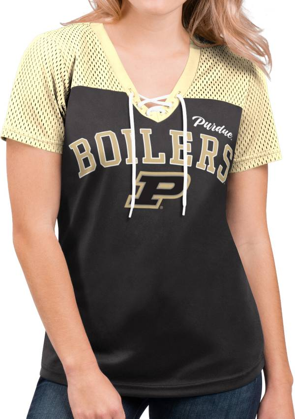 G-III For Her Women's Purdue Boilermakers Shuffle Lace V-Neck Black T-Shirt product image