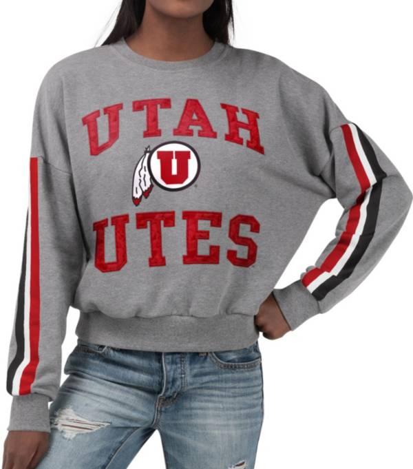 G-III For Her Women's Utah Utes Grey Freshman Crew Neck Sweatshirt product image