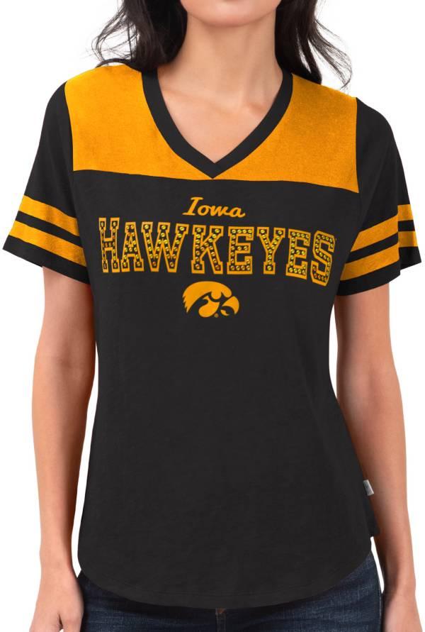 Touch by Alyssa Milano Women's Iowa Hawkeyes Fair Shutout V-Neck Black T-Shirt product image