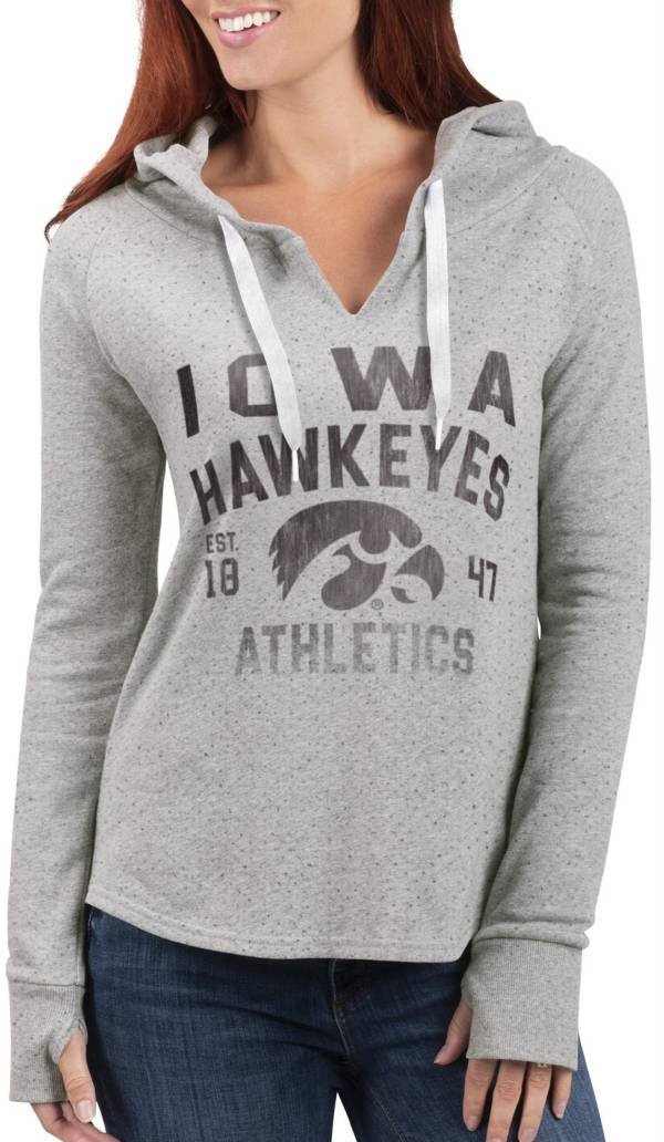 G-III For Her Women's Iowa Hawkeyes Grey Touchdown Pullover Hoodie product image