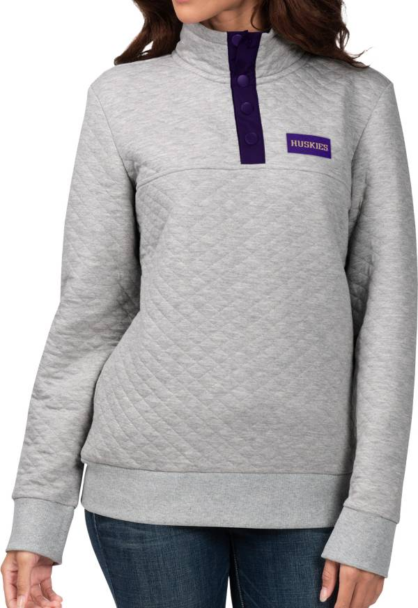 G-III For Her Women's Washington Huskies Grey First Hit Quarter-Button Pullover Top product image