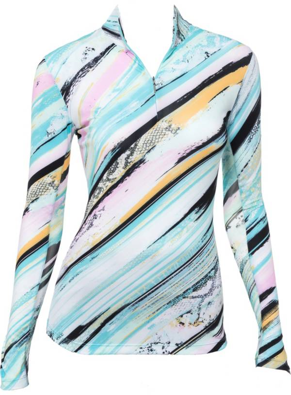EP Pro Women's Brushstroke Snakeskin Print Long Sleeve Golf Polo product image