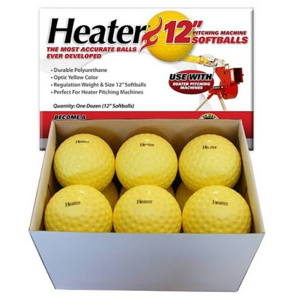 Heater 12'' Yellow Dimpled Pitching Machine Balls - 12 Pack product image