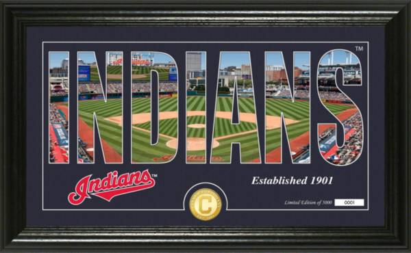 Highland Mint Cleveland Indians Silhouette Panoramic Bronze Coin Photo Mint product image