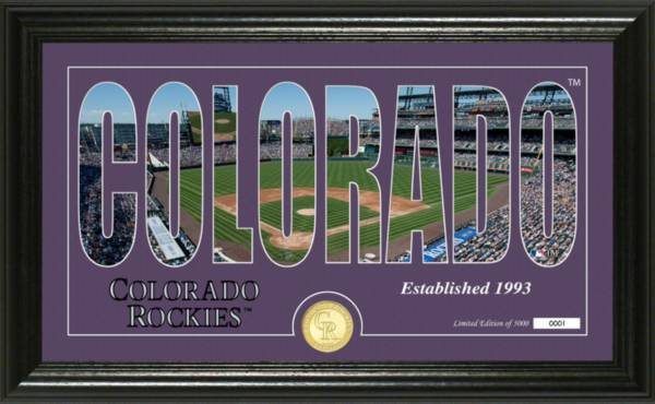 Highland Mint Colorado Rockies Silhouette Panoramic Bronze Coin Photo Mint product image