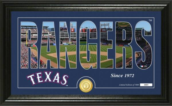 Highland Mint Texas Rangers Silhouette Panoramic Bronze Coin Photo Mint product image