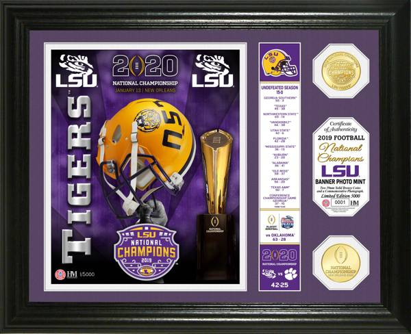 Highland Mint 2019 National Champions LSU Tigers Banner Bronze Coin Photo Mint product image