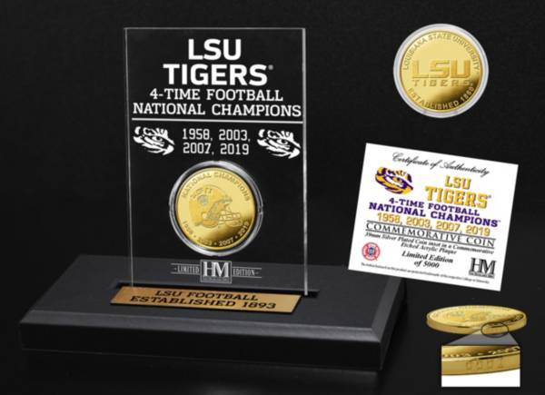 Highland Mint 4-Time National Champions LSU Tigers Gold Coin Etched Acrylic product image