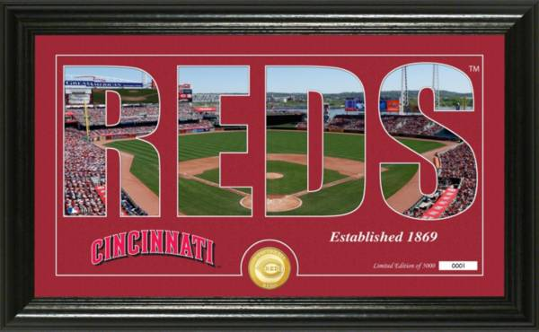 Highland Mint Cincinnati Reds Silhouette Panoramic Bronze Coin Photo Mint product image
