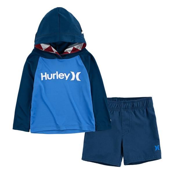 Hurley Little Boys' Shark Bite Hoodie and Swim Trunks Set product image