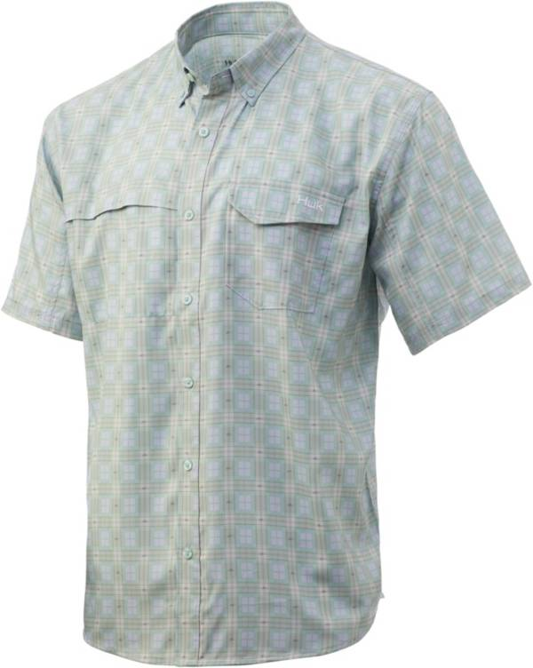 Huk Men's Tide Point Plaid Short Sleeve Button Down Fishing Shirt product image