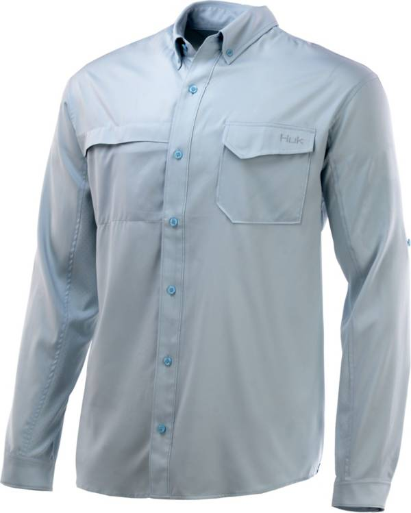 Huk Men's Tide Point Woven Solid Long Sleeve Button Down Shirt product image