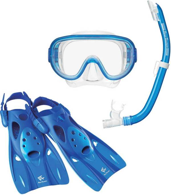 Reef Tourer Adult Single-Window Mask, Snorkel and Fin Traveling Set product image