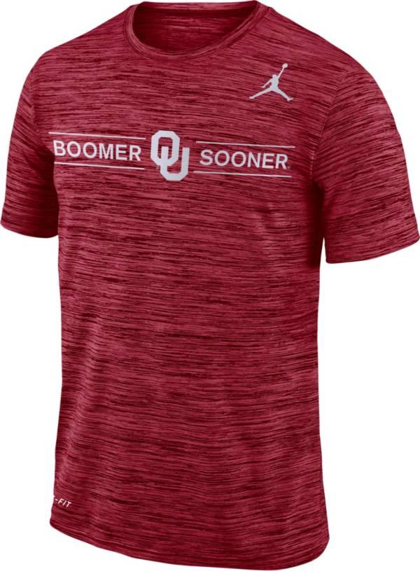Jordan Men's Oklahoma Sooners Crimson Velocity 'Boomer Sooner' Football T-Shirt product image