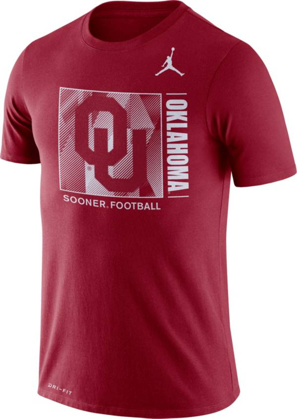 Jordan Men's Oklahoma Sooners Crimson Team Issue Logo Football T-Shirt product image