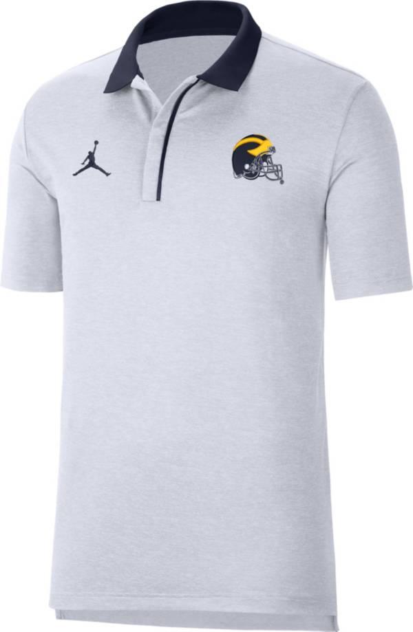 Jordan Men's Michigan Wolverines Sideline Performance White Polo product image
