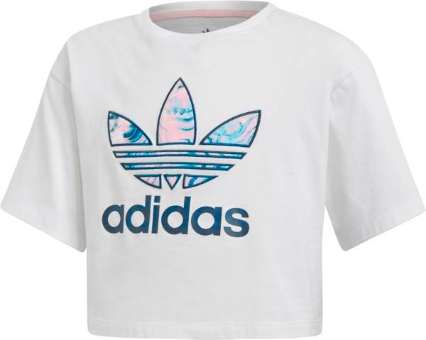 adidas Originals Girls' Marble Trefoil Cropped T-Shirt product image