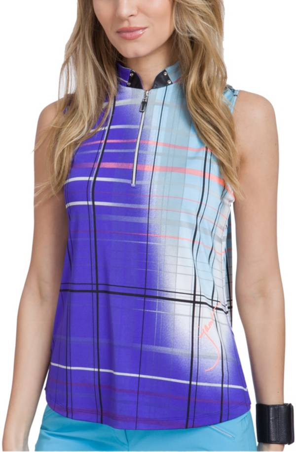 Jamie Sadock Women's Plaid Sleeveless Golf Polo product image