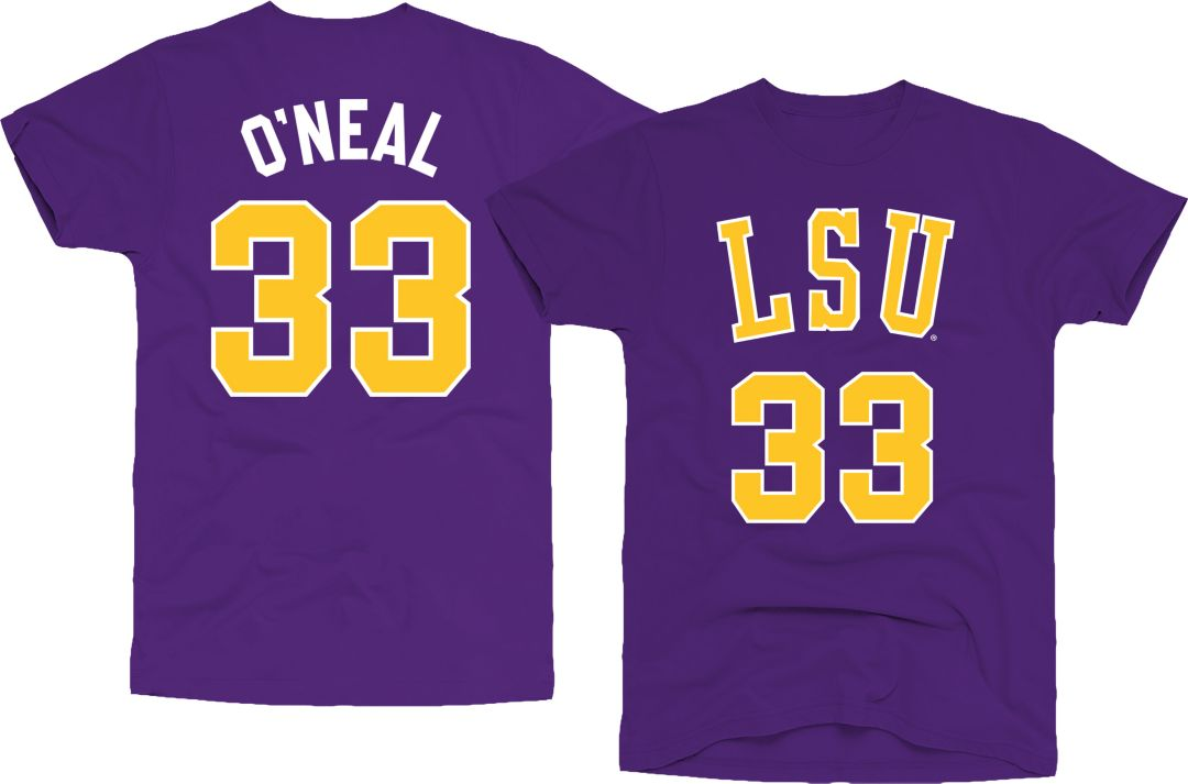 new product c3454 03045 Original Retro Brand Men's LSU Tigers Shaquille O'Neal #33 Purple  Basketball Jersey T-Shirt
