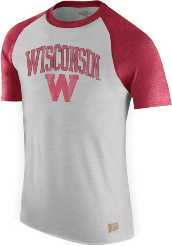 Original Retro Brand Men's Wisconsin Badgers Grey/Red Raglan T-Shirt product image
