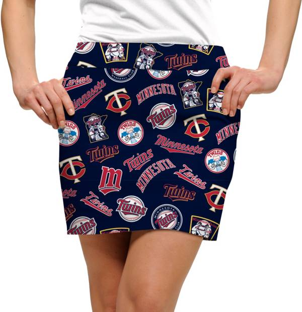 Loudmouth Golf Women's Minnesota Twins Navy Retro Stretchtech Performance Golf Skort product image