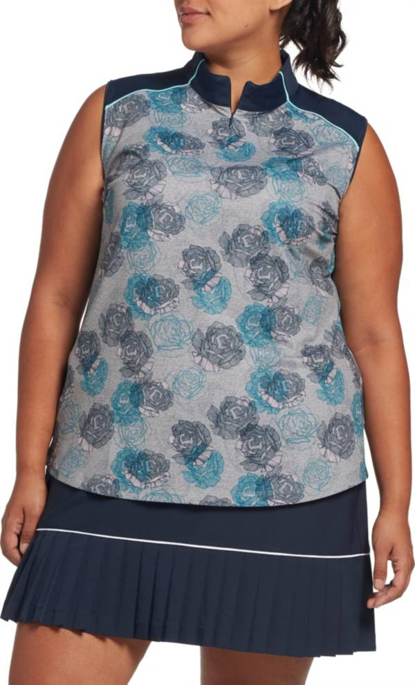 Lady Hagen Women's Floral Print Mock Neck Sleeveless Golf Polo – Extended Sizes product image