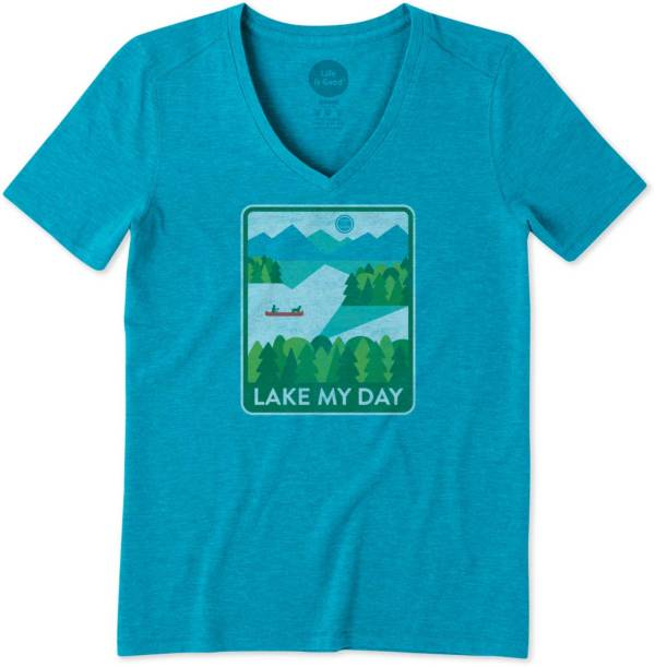 Life is Good Women's Lake My Day Poster Cool V-Neck T-Shirt product image