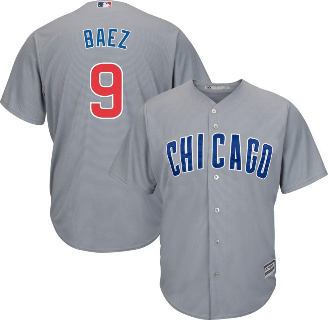 48fb14e0 Majestic Men's Replica Chicago Cubs Javier Baez #9 Cool Base Road Grey  Jersey. noImageFound. Previous