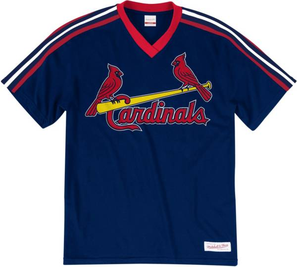 Mitchell & Ness Big and Tall Men's St. Louis Cardinals Navy V-Neck T-Shirt product image