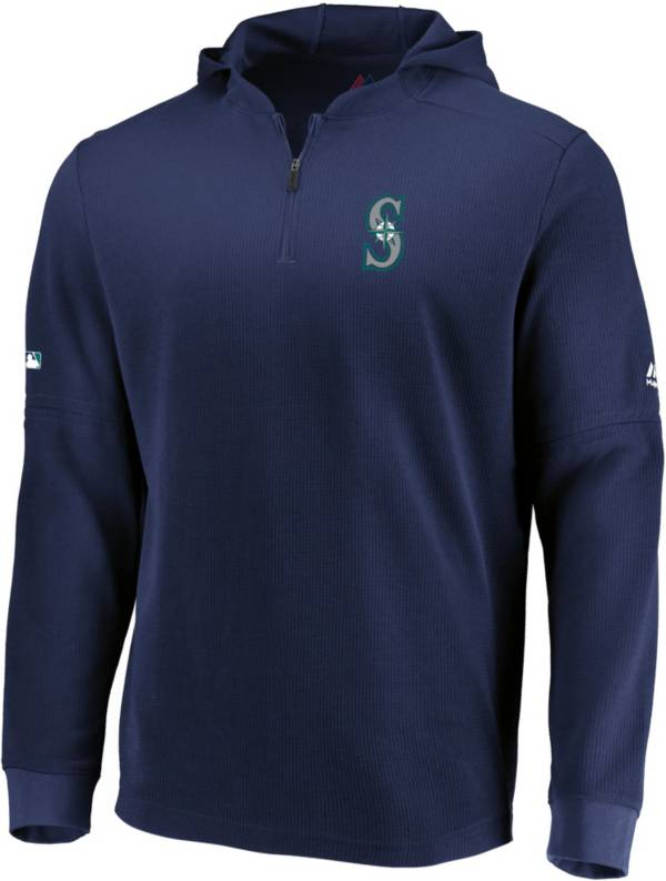 Majestic Men's Seattle Mariners Authentic Collection Batting Practice Waffle Hooded Pullover product image