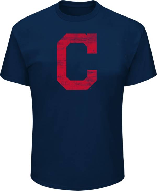 Majestic Big and Tall Men's Cleveland Indians Navy Tri-blend T-Shirt product image