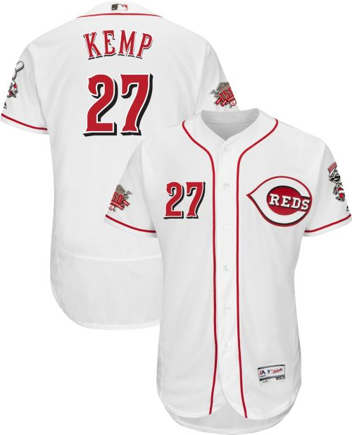 18c72e07e Majestic Men s Authentic Cincinnati Reds Matt Kemp  27 Flex Base Home White  On-Field Jersey w  150th Anniversary Patch