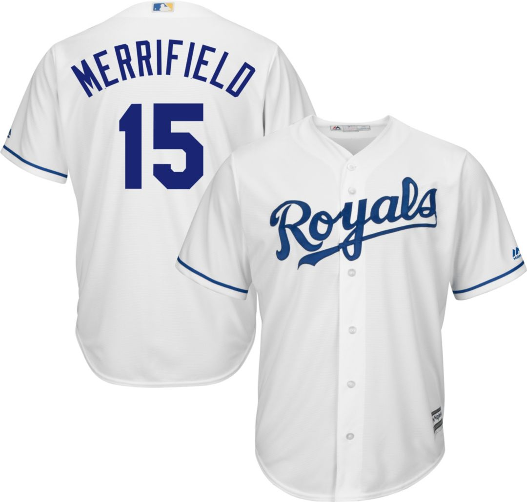 huge selection of 64109 96dca Majestic Men s Replica Kansas City Royals Whit Merrifield  15 Cool Base  Home White Jersey. noImageFound. Previous