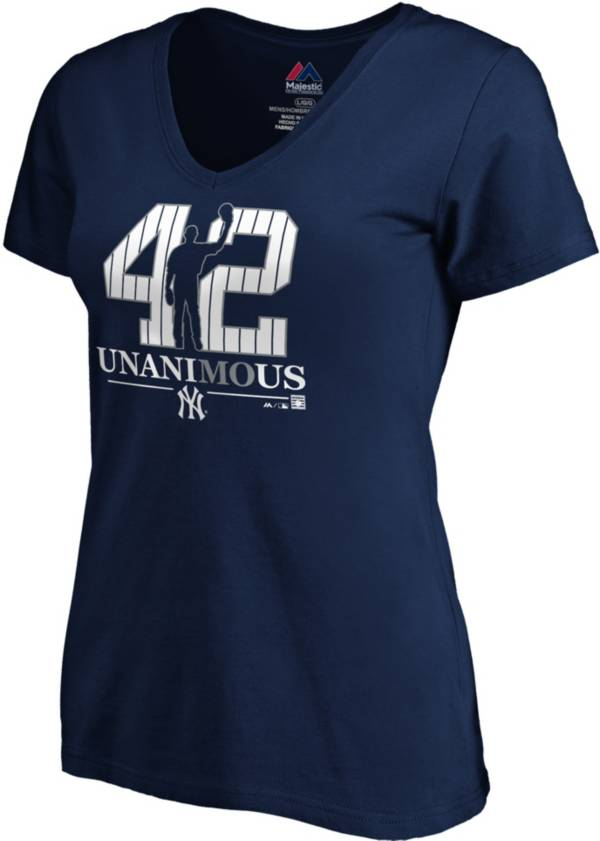 """Majestic Women's New York Yankees Mariano Rivera """"UnaniMOus"""" 2019 Hall-of-Fame V-Neck T-Shirt product image"""