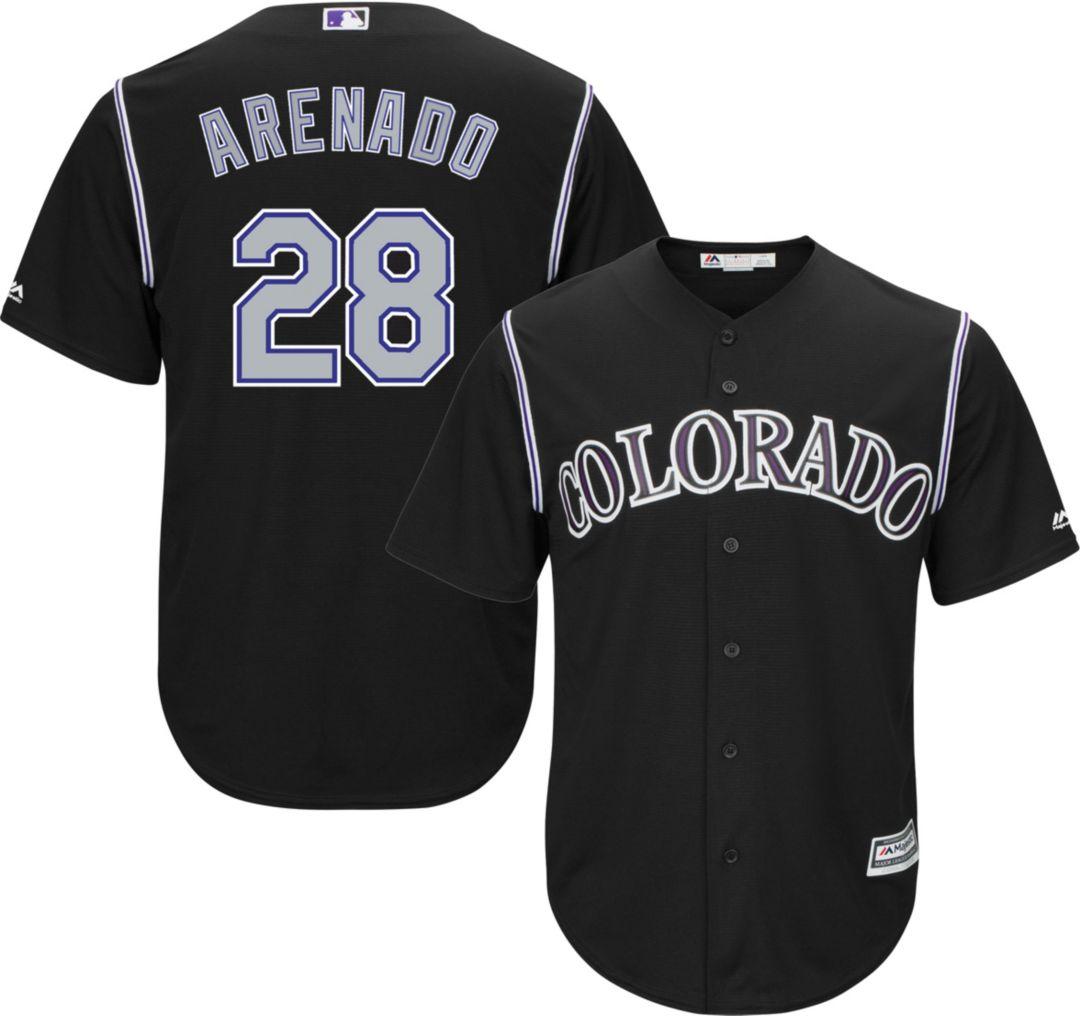 size 40 d5c03 b3c76 Majestic Youth Replica Colorado Rockies Nolan Arenado #28 Cool Base  Alternate Black Jersey