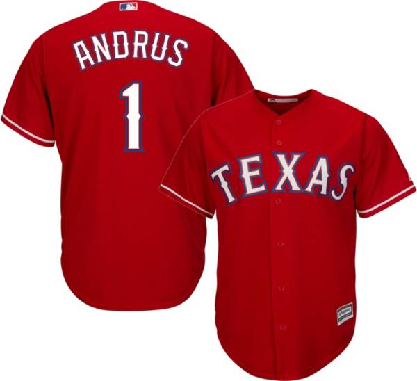 Majestic Youth Replica Texas Rangers Elvis Andrus #1 Cool Base Alternate Red Jersey product image