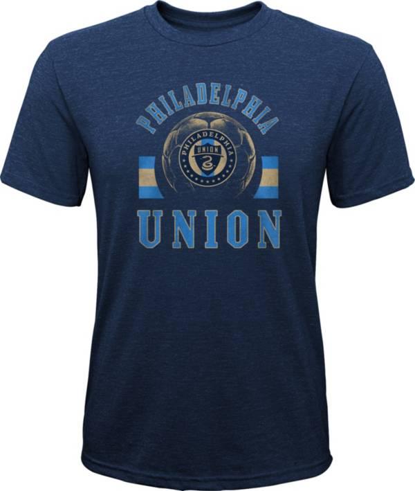 MLS Youth Philadelphia Union Retro Navy Heathered Tri-Blend T-Shirt product image