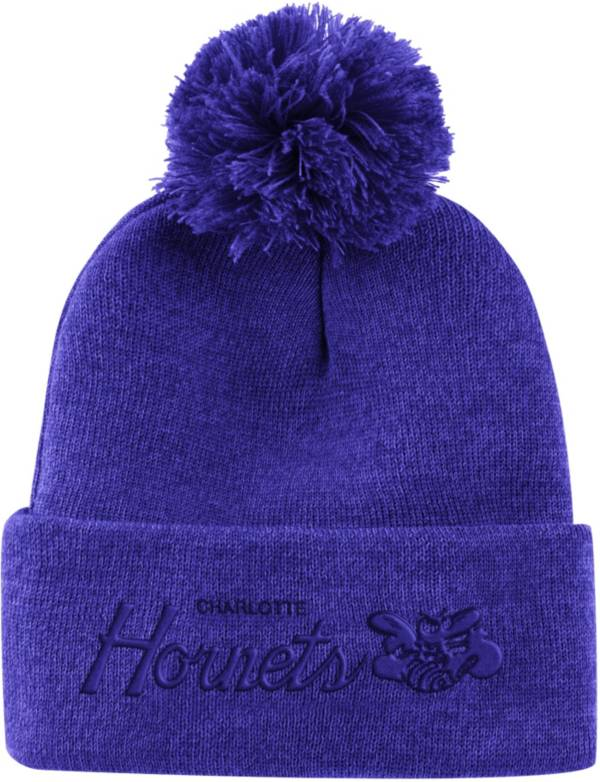 Mitchell & Ness Men's Charlotte Hornets Pom Cuffed Knit Beanie product image