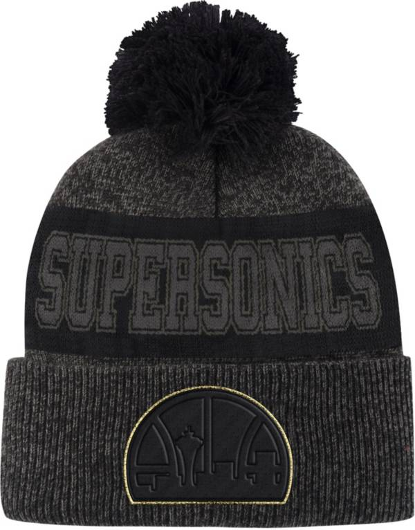 Mitchell & Ness Men's Seattle SuperSonics Grey Pom Cuffed Knit Beanie product image