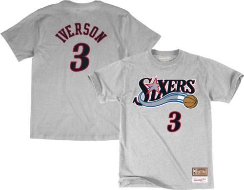 36bfa5c13eb Mitchell & Ness Men's Philadelphia 76ers Allen Iverson #3 Grey T-Shirt.  noImageFound. Previous