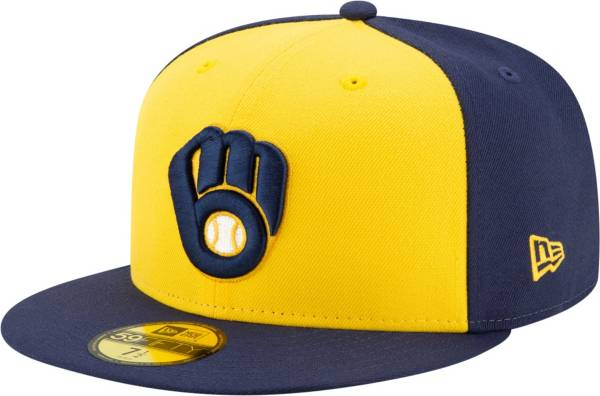 New Era Men's Milwaukee Brewers Yellow 59Fifty Authentic Hat product image