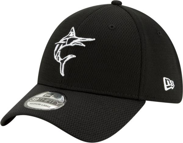 New Era Men's Miami Marlins 39Thirty Black Batting Practice Stretch Fit Hat product image