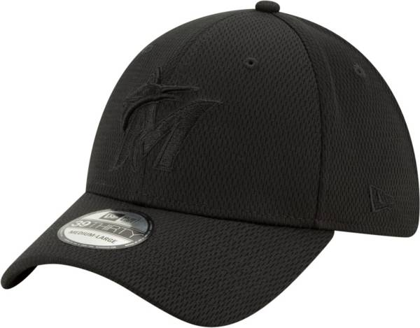 New Era Men's Miami Marlins Black 39Thirty Perftone Stretch Fit Hat product image