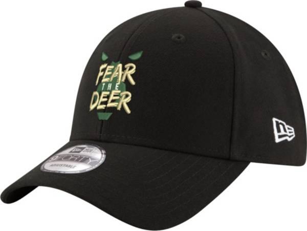 "New Era Men's Milwaukee Bucks 9Forty ""Fear The Deer"" Black Adjustable Hat product image"