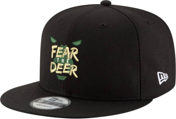 "New Era Men's Milwaukee Bucks 9Fifty ""Fear The Deer"" Black Adjustable Snapback Hat product image"